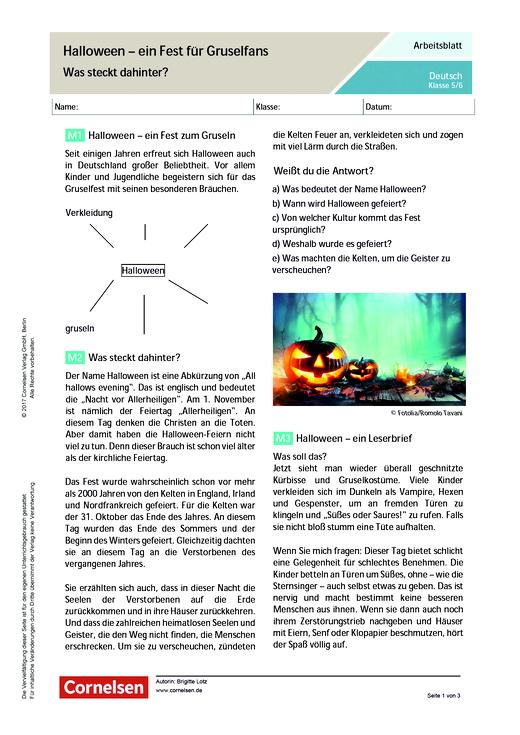 Halloween – ein Fest für Gruselfans. Was steckt dahinter? - Arbeitsblatt