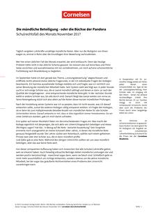 """""""Die mündliche Beteiligung - oder die Büchse der Pandora"""" - Schulrechtsfall"""