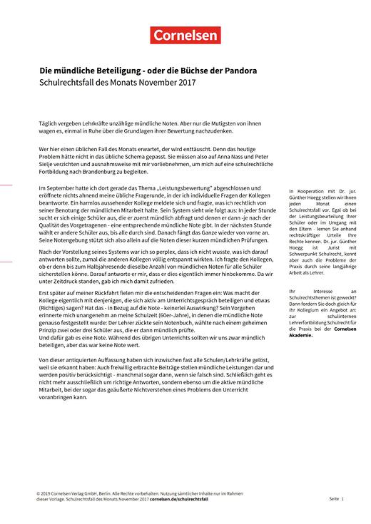 """""""Die mündliche Beteiligung - oder die Büchse der Pandora"""" - Schulrechtsfall - Webshop-Download"""