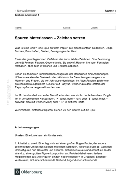 Kammerlohr - Schülermaterial Arbeitsblatt Spuren hinterlassen - Arbeitsblatt - Band 1