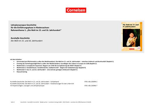 Kurshefte Geschichte - Planungshilfe zu Kursheft Geschichte: Die Welt im 15. und 16. Jahrhundert - Synopse - Webshop-Download