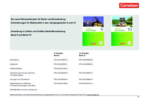 Zahlen und Größen - Stoffverteilungsplan - 9./10. Schuljahr
