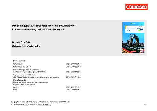 Unsere Erde - Unsere Erde 9/10: Stoffverteilungsplan für Differenzierende Ausgabe in Baden-Württemberg - Planungshilfe - 9./10. Schuljahr