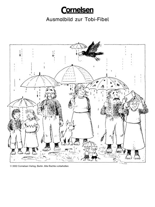 Ausmalbild zur Tobi-Fibel: Im Regen - Arbeitsblatt