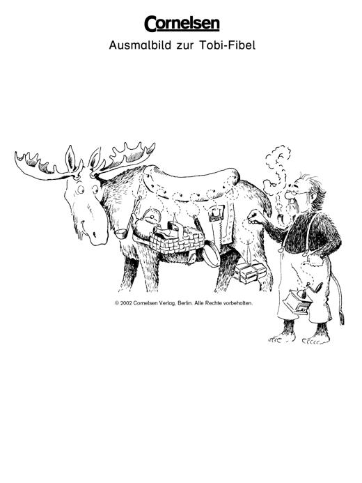 Ausmalbild zur Tobi-Fibel: Der Elch - Arbeitsblatt