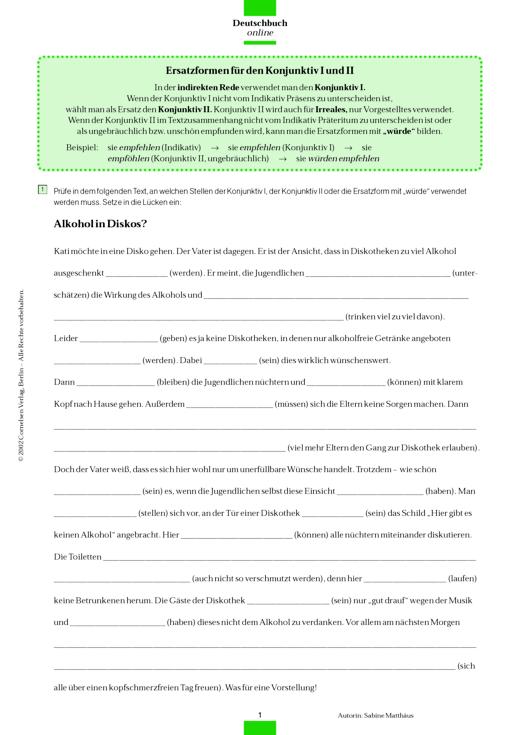 Deutschbuch Gymnasium - Lückentext: Ersatzformen für den Konjunktiv I und II - Arbeitsblatt - 9. Jahrgangsstufe