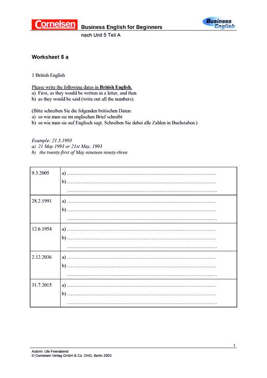 Worksheet 5a Grammatik - Arbeitsblatt
