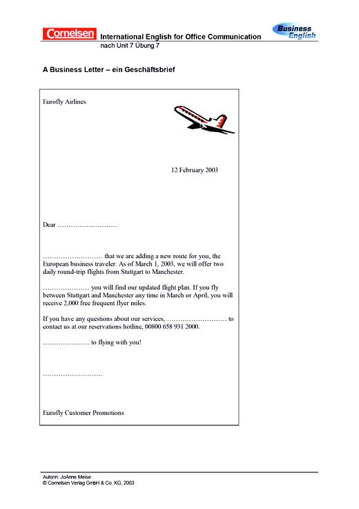 A Business Letter - Arbeitsblatt - Webshop-Download