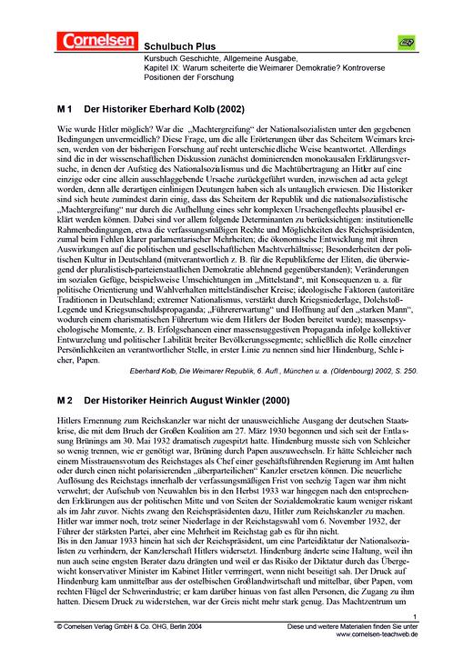 Warum scheiterte die Weimarer Demokratie? Kontroverse Positionen der Forschung - Arbeitsblatt
