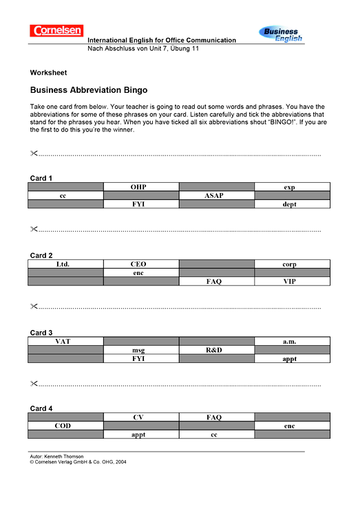 Business Abbreviation Bingo - Spiel - Webshop-Download