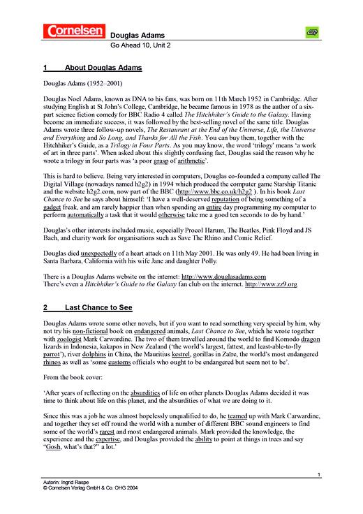 Mathefreunde - Informationstext: About Douglas Adams - Arbeitsblatt - 10. Jahrgangsstufe