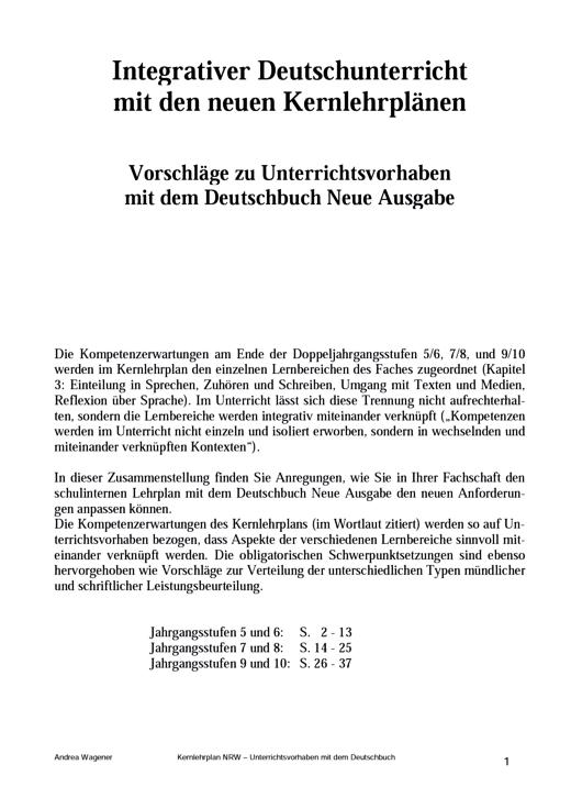 Deutschbuch Gymnasium - Stoffverteilungsplan - Kernlehrplan (Nordrhein-Westfalen) - 5.-10. Schuljahr