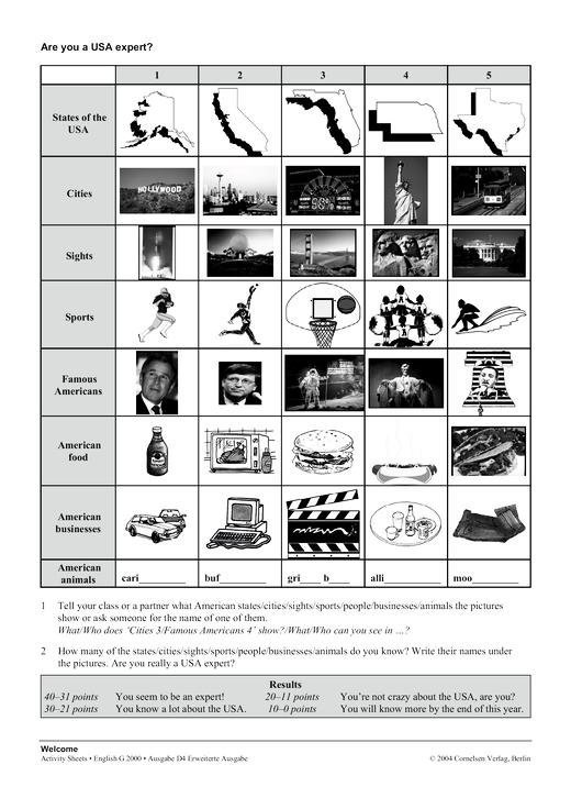 Activity Sheet: Are you a USA expert? - Arbeitsblatt - Webshop-Download