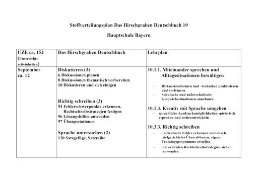 Stoffverteilungsplan zu Band 10 - Stoffverteilungsplan