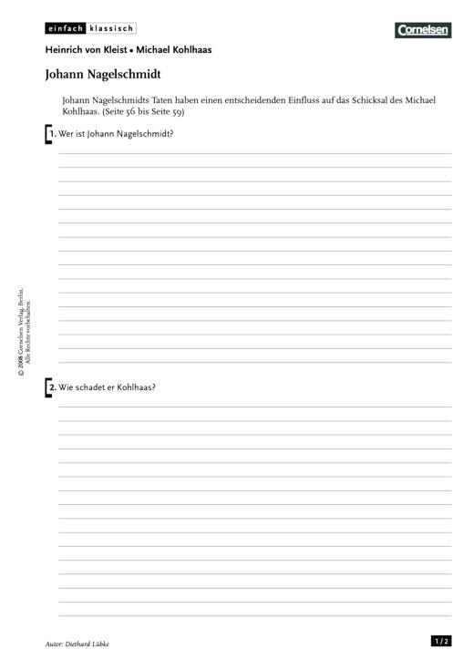Einfach klassisch - Einfach klassisch: Michael Kohlhaas - Johann Nagelschmidt - Arbeitsblatt - Webshop-Download
