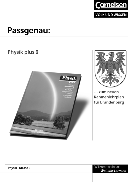 Physik plus, Brandenburg GS Kl. 6 Lehrplansynopse - Stoffverteilungsplan - Webshop-Download