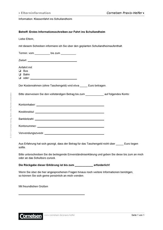 Infobrief zur Klassenfahrt - Editierbare Kopiervorlage
