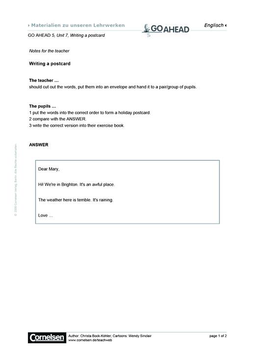 Writing A Postcard Arbeitsblatt Webshop Download Cornelsen