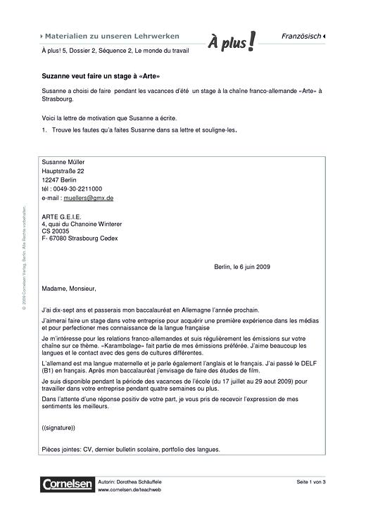 A Plus 5 Dossier 2 Seq 2 Suzanne Veut Faire Un Stage A Arte Arbeitsblatt Webshop Download