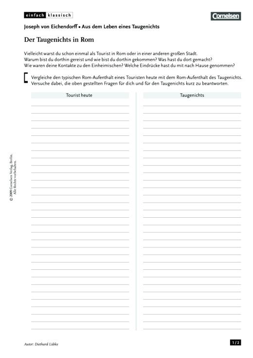 Einfach klassisch - Einfach klassisch: Aus dem Leben eines Taugenichts - Der Taugenichts in Rom - Arbeitsblatt - Webshop-Download