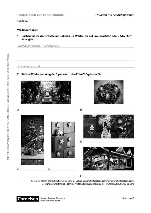 Weihnachtszeit in Deutschland, Österreich und der Schweiz - Arbeitsblatt
