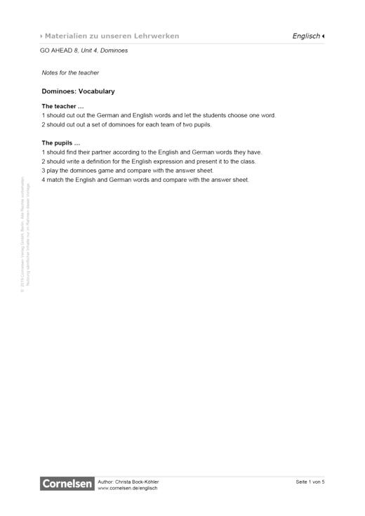 Dominoes: Vocabulary - Arbeitsblatt - Webshop-Download