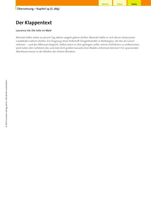 Übersetzung (24.7 Der Klappentext 1, Laurence Ink) - Arbeitsblatt