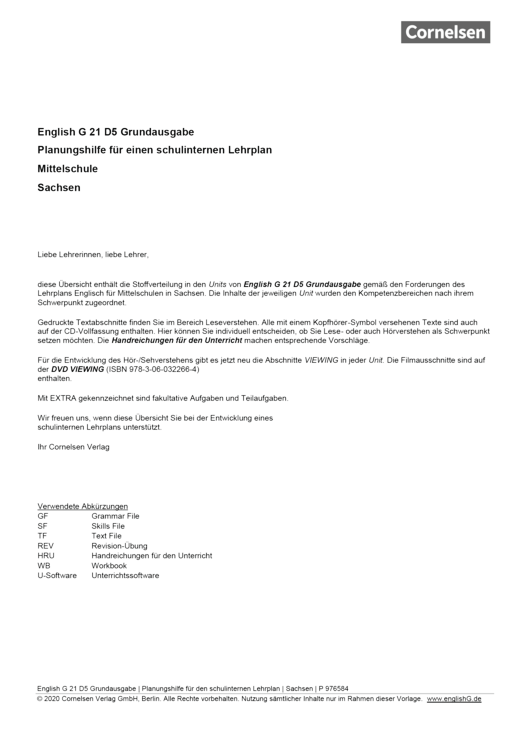 English G 21 - Planungshilfe für Sachsen - Band 5: 9. Schuljahr