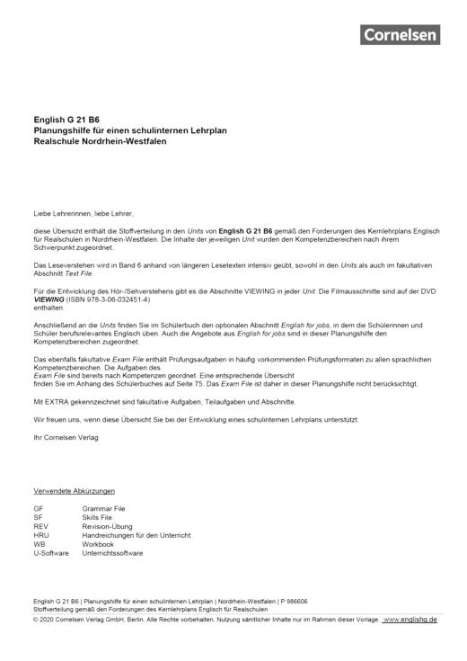 English G 21 - English G 21 B6 Planungshilfe Nordrhein-Westfalen - Planungshilfe - Band 6: 10. Schuljahr