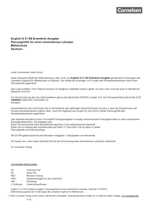 English G 21 - Planungshilfe für Sachsen - Band 6: 10. Schuljahr