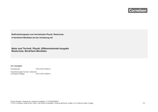 Der neue Kernlehrplan für die Realschule Nordrhein-Westfalen (Natur und Technik, Physik, DA) - Stoffverteilungsplan - Webshop-Download