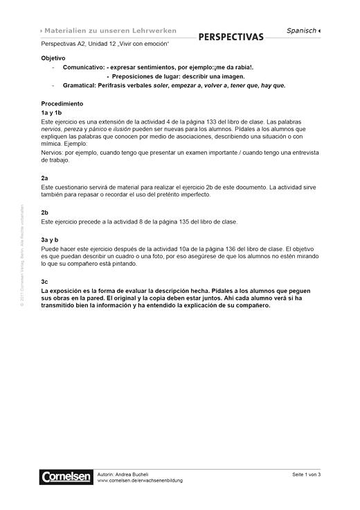 Perspectivas A2: Unidad 12: Vivir con emoción - Arbeitsblatt - Webshop-Download