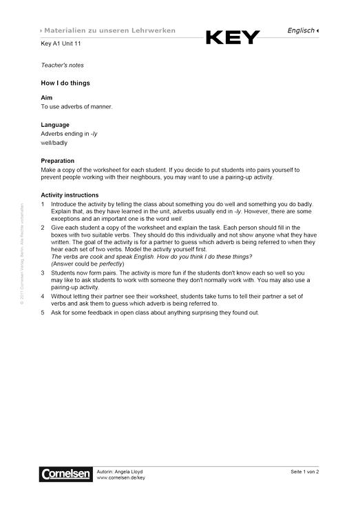Key A1 Unit 11 How I do things - Arbeitsblatt - Webshop-Download