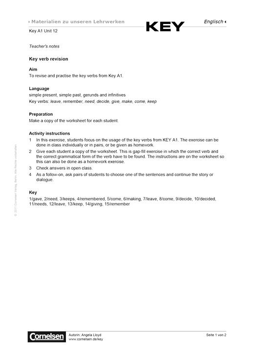 Key A1 Unit 12 Key verb revision - Arbeitsblatt - Webshop-Download