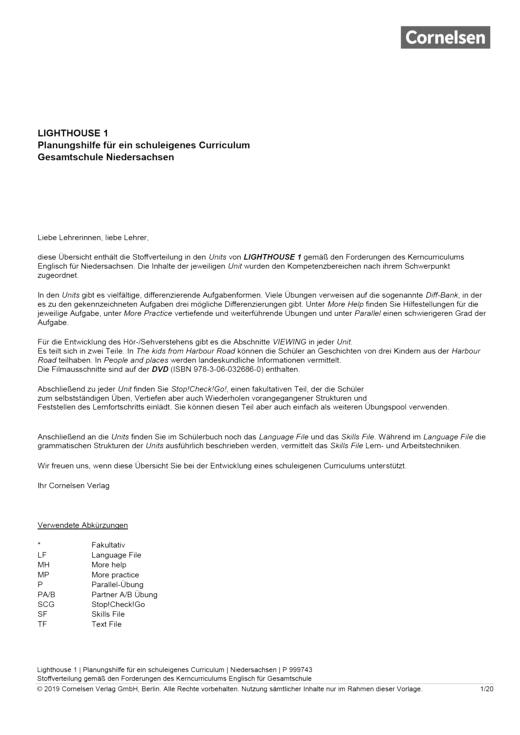 English G Lighthouse - Lighthouse 1 – Planungshilfe Gesamtschule Niedersachsen - Planungshilfe - Webshop-Download
