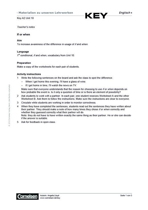Key A2 Unit 10 If or when? - Arbeitsblatt - Webshop-Download