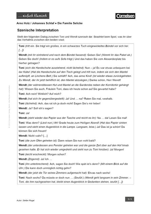 Einfach klassisch - Einfach klassisch: Die Familie Selicke – Szenische Interpretation - Arbeitsblatt - Webshop-Download