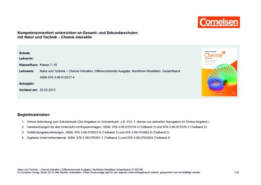 Natur und Technik - Chemie interaktiv: Differenzierende Ausgabe - Stoffverteilungsplan für GS NRW - Gesamtband