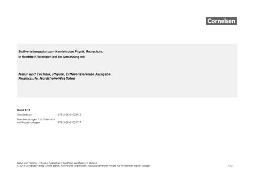 Natur und Technik - Physik: Differenzierende Ausgabe - Der neue Kernlehrplan für die Realschule Nordrhein-Westfalen - Stoffverteilungsplan - 9./10. Schuljahr