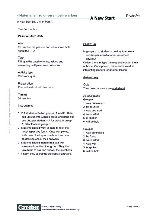 Unit 09A: Passive Quiz USA - Arbeitsblatt - Webshop-Download