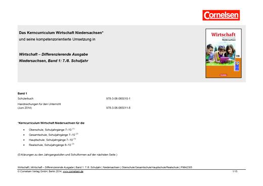"""Wirtschaft - Planungshilfe zu """"Wirtschaft Differenzierende Ausgabe"""", Niedersachsen, Band 1 - Planungshilfe - 7./8. Schuljahr"""