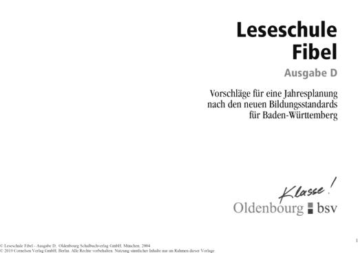 Vorschläge für eine Jahresplanung zur Leseschule Fibel, Ausgabe D - Stoffverteilungsplan