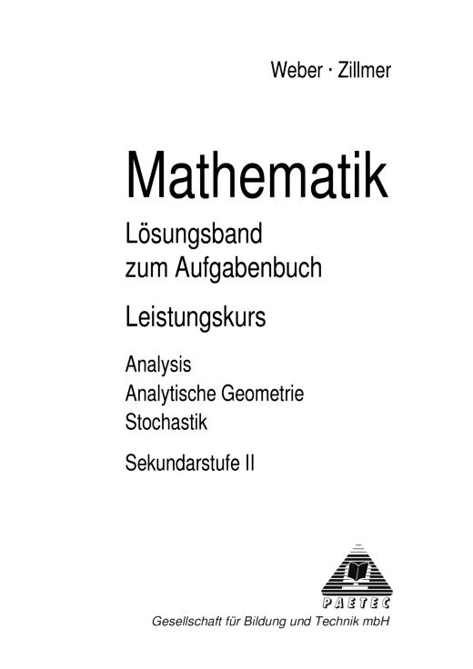 "Analysis ""TCP-Lösungen Mathematik"", Gymnasiale Oberstufe - Lösungen - Webshop-Download"