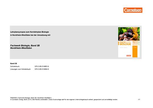 Fachwerk Biologie - Stoffverteilungsplan Fachwerk Biologie Nordrhein-Westfalen Band 2 Teil B (Klassenstufe 9./10.) - Stoffverteilungsplan - Band 2 - Teil B
