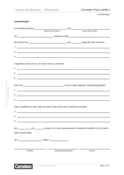 Lernvertrag II - Editierbare Kopiervorlage