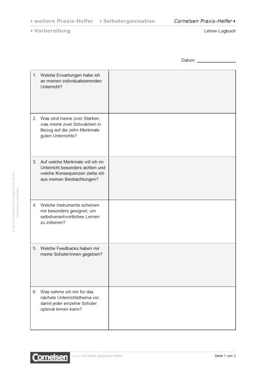 Lehrer-Logbuch - Editierbare Kopiervorlage