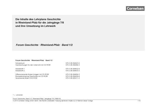 Forum Geschichte - Neue Ausgabe - Forum Geschichte Rheinland-Pfalz 1/2 : Planungshilfe für einen schuleigenen Lehrplan - Planungshilfe - Band 1/2