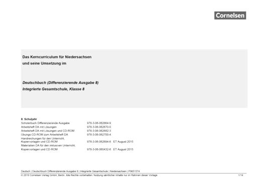 Deutschbuch - Deutschbuch Differenzierende Ausgabe 8 – Jahresplaner Niedersachsen - Synopse - 8. Schuljahr