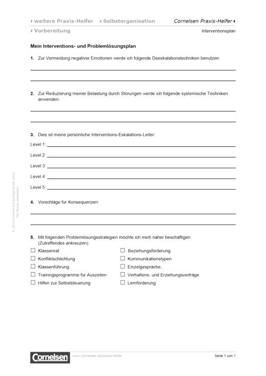 Interventions- und Problemlösungsplan - Editierbare Kopiervorlage