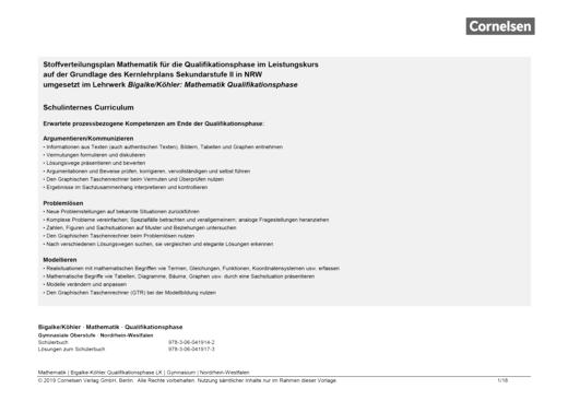 Bigalke/Köhler: Mathematik - Stoffverteilungsplan - Qualifikationsphase Leistungskurs